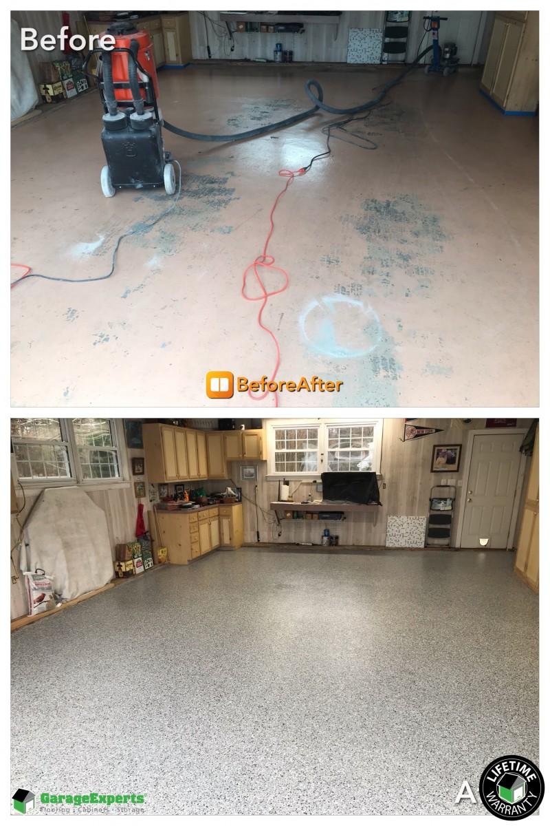 Before and After Epoxy Garage Floor Franklin, VA