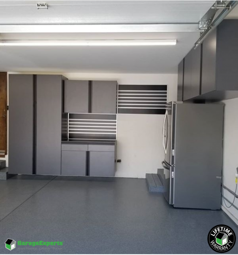 Residential 3 Car Garage Epoxy Flooring And Cabinet Storage Solution In Chantilly Virginia Garage Experts Of Northern Virginia