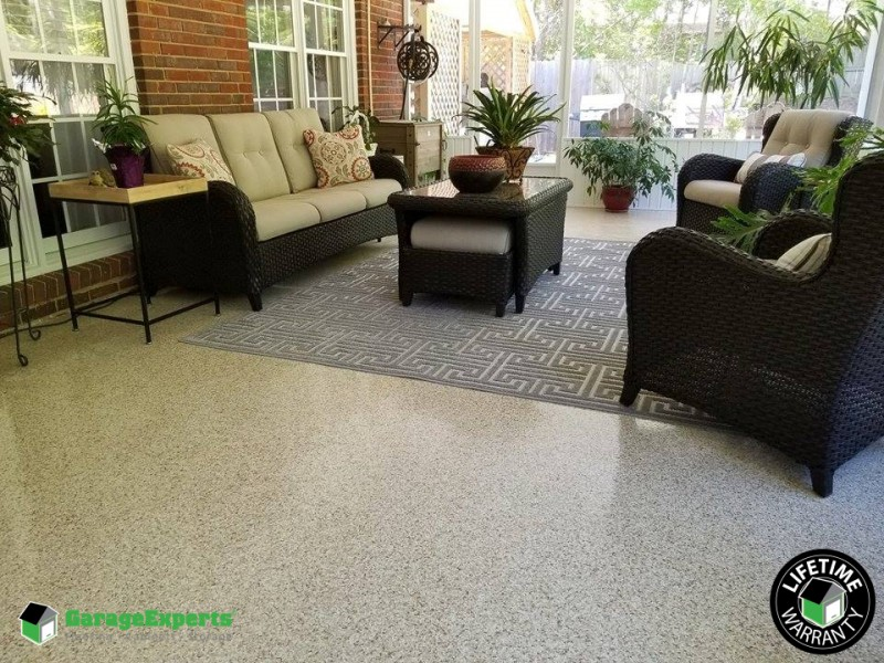 Epoxy flooring for patios, your lanai, pool deck, garage, anywhere! Installed in Myrtle Beach, SC