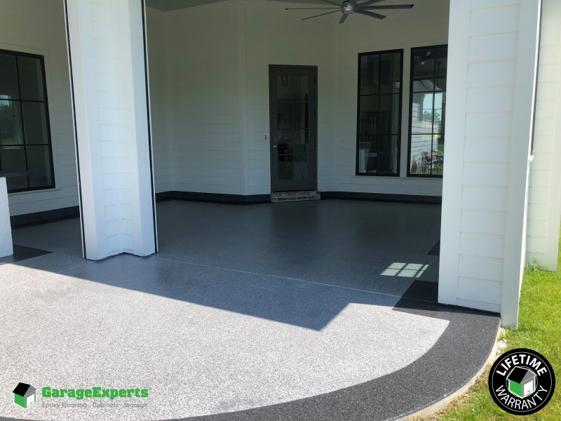 Residential Outdoor Kitchen Epoxy Flooring In Baton Rouge La