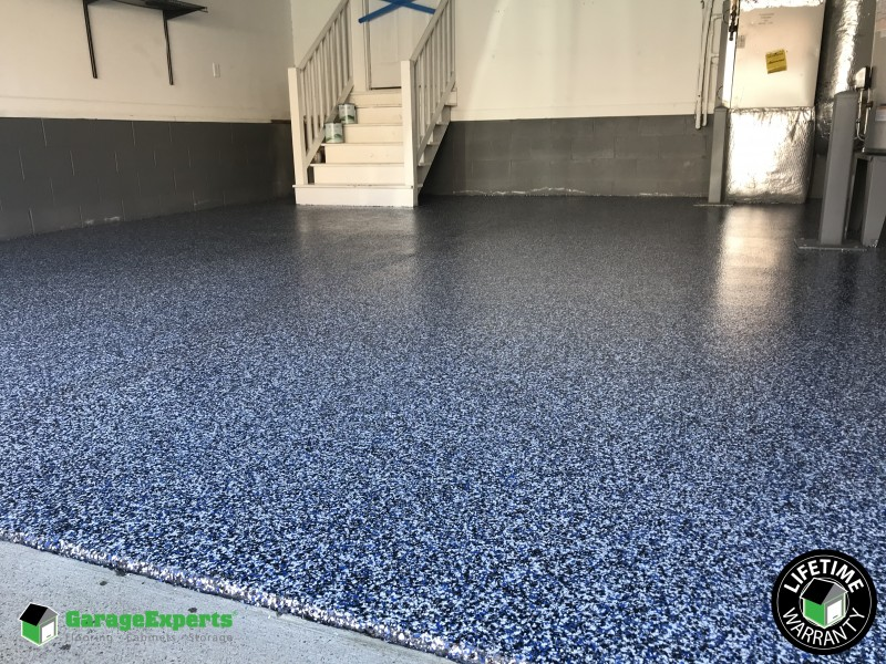 1 4 Touch Of Blue Epoxy Flake Floor Newport News Va Garage