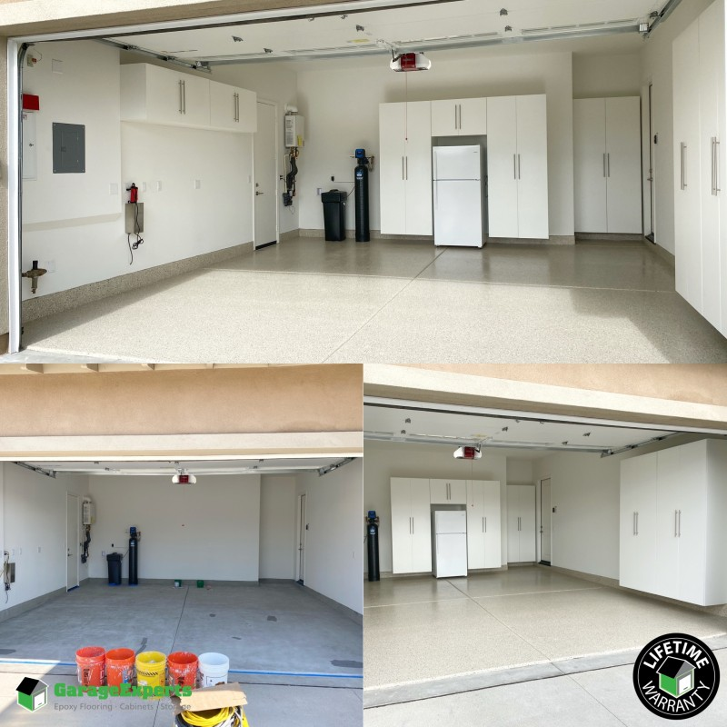 Residential Garage Epoxy Flooring And Cabinet Storage Solution In