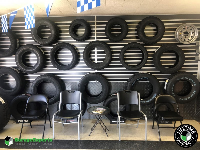 Slat wall display - Port Allen Tire - Port Allen