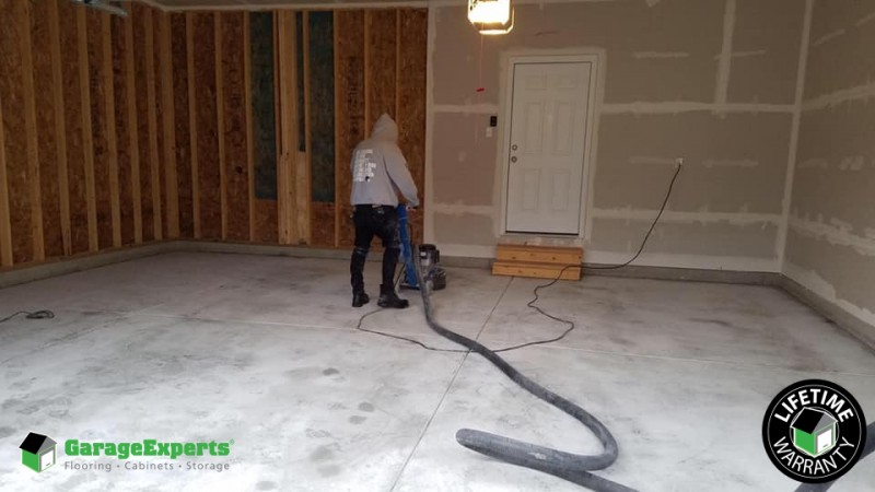 New Epoxy Garage Floor Before Picture